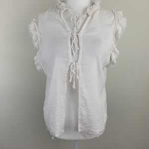 Free People Sheer White Tie Lace Fringe Blouse